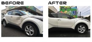 トヨタC-HR|フロントドア|板金塗装|品川区のお客様