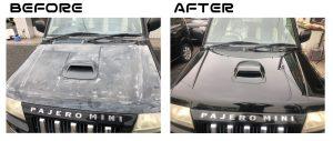 パジェロミニ|ボンネット|塗装劣化の為再塗装|入間市のお客様